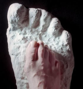 Plaster cast of a sasquatch foot in Maine.